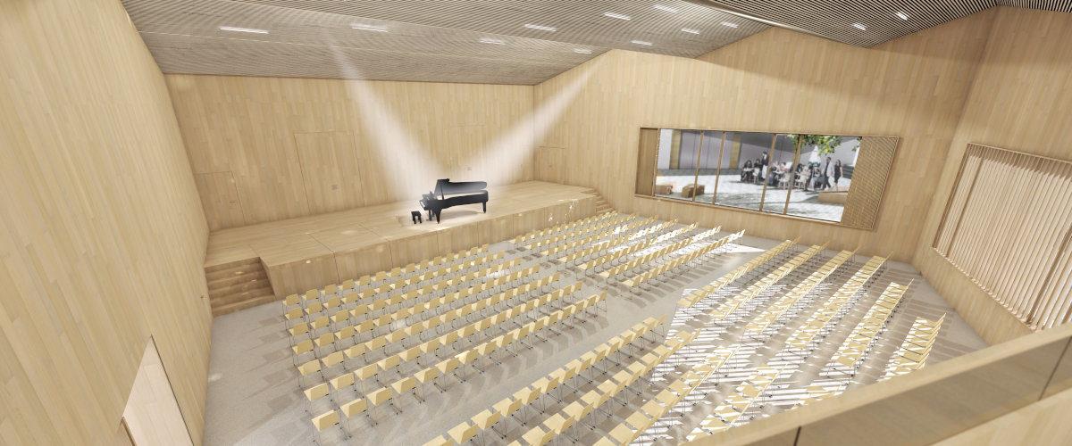 Gemeindesaal Visualisierung Saalraum, ©K2 Architekten Basel