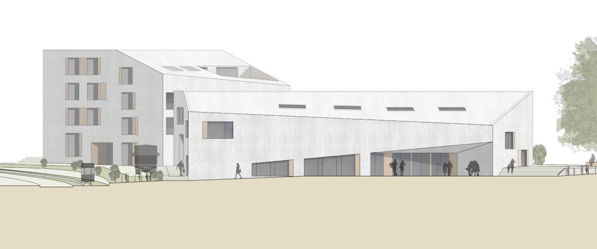 Gemeindesaal Ansicht Pfeffingerhof, ©K2 Architekten Basel