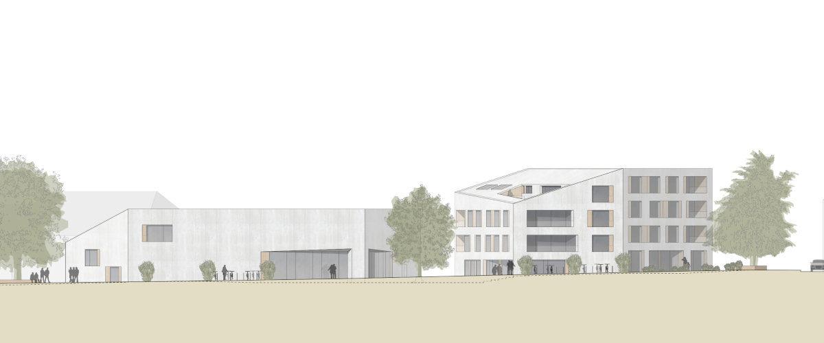 Gemeindesaal Ansicht Stollenrain, ©K2 Architekten Basel