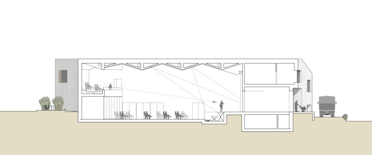 Gemeindesaal Längsschnitt, ©K2 Architekten Basel