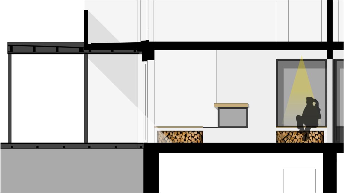 Umbau EFH Oberwil - Zeichnung Kamin